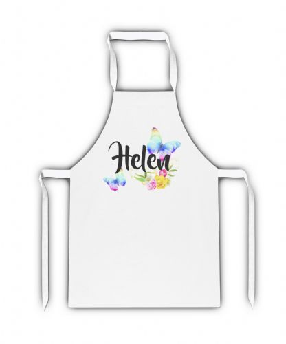 Personalised Beautiful Butterflies & Flowers Novelty Gift White Adult Apron